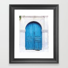 Vibrant Blue Greek Door to Whitewashed Home in Crete, Greece Framed Art Print