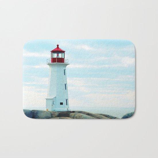 Old Lighthouse, Blue Ocean Bath Mat