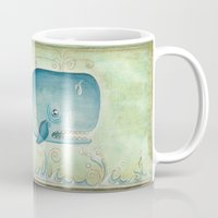 the whale Mugs featuring WHALE by Patrizia Ambrosini