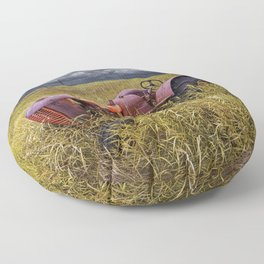 Abandoned Farm Tractor on the Prairie Floor Pillow