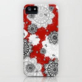 Ladybug Mandalas on red iPhone Case