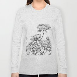 black and white peonies 2 Long Sleeve T-shirt