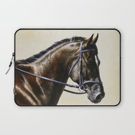 Dark Bay Dressage Horse Portrait Laptop Sleeve