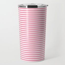 Pink and White Horizontal Stripes Travel Mug