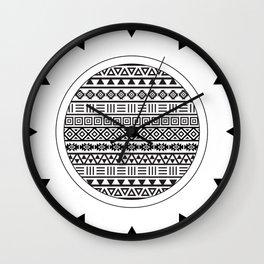 Aztec Influence Pattern Black on White Wall Clock