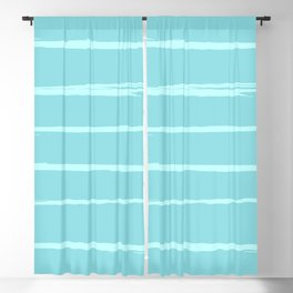 Horizontal brush stroke lines - light blue Blackout Curtain