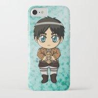 shingeki no kyojin iPhone & iPod Cases featuring Shingeki no Kyojin - Chibi Eren by Tenki Incorporated