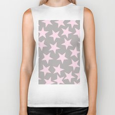Pink stars on grey background on #Society6 Biker Tank
