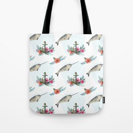 Summertime Nautical Narwhal Tote Bag