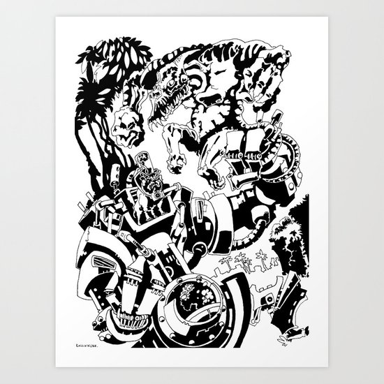 Doktor Steampug- Black and White Art Print