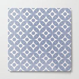 Geometric Concentric Flower Pattern 427 Indigo Blue Metal Print