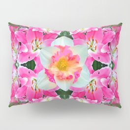 PINK & WHITE SPRING FLOWER GARDEN Pillow Sham