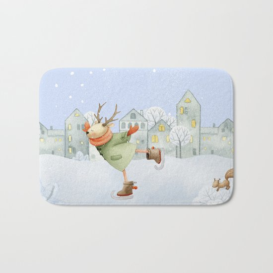 Merry christmas- Ice skating Deer and squirrel are having Winter fun Bath Mat