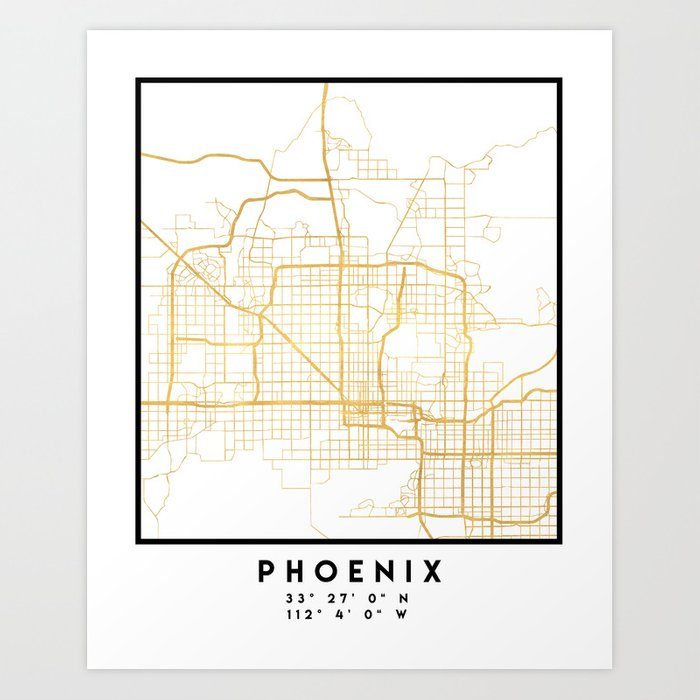 Map Of Just Arizona.Phoenix Arizona City Street Map Art Art Print By Deificusart