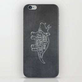 Triceratops Dinosaur (A.K.A Three Horn Face) Butcher Meat Diagram iPhone Skin