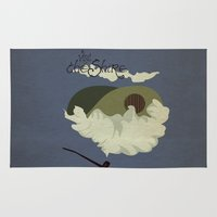 travel poster Area & Throw Rugs featuring The Shire Vintage Travel Poster by Nana Leonti