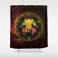 fullmetal alchemist Shower Curtains featuring Edward Transmutation Circle by BradixArt