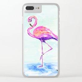 Flamingo Love Clear iPhone Case