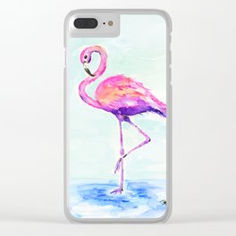 Flamingo Love Clear iPhone Case