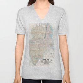 Vintage Map of Jersey City and Hoboken (1886) Unisex V-Neck