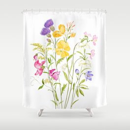 yellow pink white and  purple windflowers 2020 Shower Curtain