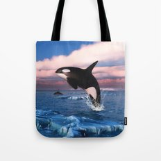 Killer whales in the Arctic Ocean Tote Bag