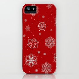 Silver snowflakes iPhone Case