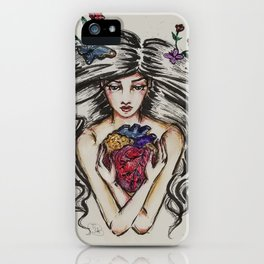 be still my beating heart anitomical love valentine tattoo brunette iPhone Case