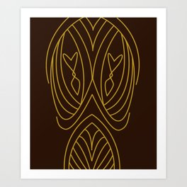 Lines and curves gold brown Art Print