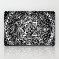 White Flower Mandala on Black iPad Case