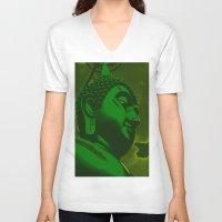 buddah V-neck T-shirts featuring Buddah Head 02; Green  by Kether Carolus