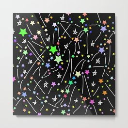 Abstract pattern with colored bright stars on black background Metal Print
