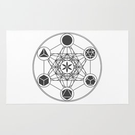 Metatron's Cube with Platonic Solids and Seed of Life Rug