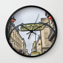 Paris Metropolitan Sign Wall Clock