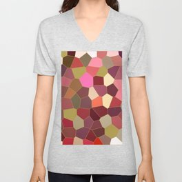 Red and Gold Festive Dazzle Stained Glass Abstract Unisex V-Neck