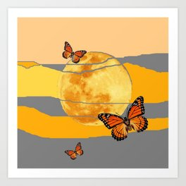 MOON & MONARCH BUTTERFLIES DESERT SKY ABSTRACT ART Art Print