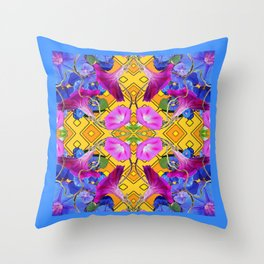 Blue  Patterns Morning Glories & Gold Throw Pillow