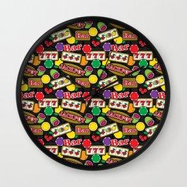 Casino Pattern of Jackpot Fruit Slot Machines Wall Clock