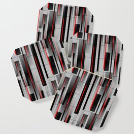 Off the Grid - Abstract - Gray, Black, Red Coaster