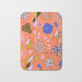 Orange Flower Pattern Bath Mat