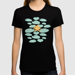Water Lily Flower and Pads Illustration T-shirt