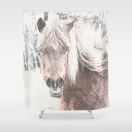 Sketchy Horse  Shower Curtain