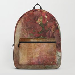 Vintage Red Hydrangea Flowers In Paris Backpack