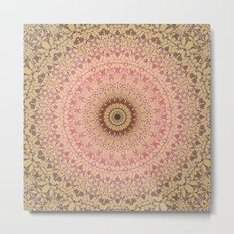 Pink brown mandala 22 Metal Print
