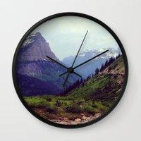 montana Wall Clocks featuring Montana Mountains  by Ashli Truchon
