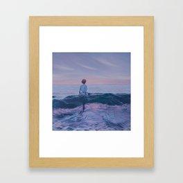 Her Steady Horizon - Surf Framed Art Print