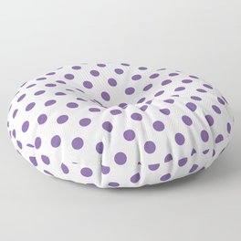 Small Polka Dots - Dark Lavender Violet on White Floor Pillow