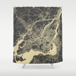 Montreal Map yellow Shower Curtain