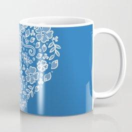 Azure Strong Blue Heart Lace Flowers Coffee Mug