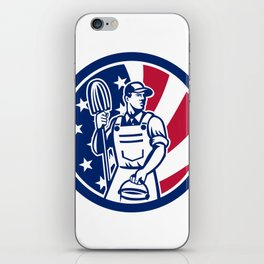 American Professional Cleaner USA Flag Icon iPhone Skin